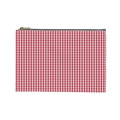USA Flag Red and White Gingham Checked Cosmetic Bag (Large)