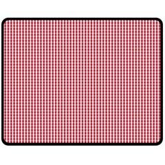 USA Flag Red and White Gingham Checked Fleece Blanket (Medium)