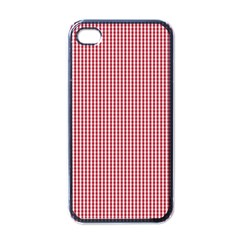 USA Flag Red and White Gingham Checked Apple iPhone 4 Case (Black)