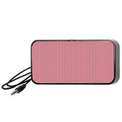 USA Flag Red and White Gingham Checked Portable Speaker (Black)