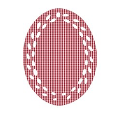 USA Flag Red and White Gingham Checked Oval Filigree Ornament (Two Sides)