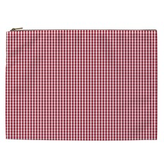 USA Flag Red and White Gingham Checked Cosmetic Bag (XXL)