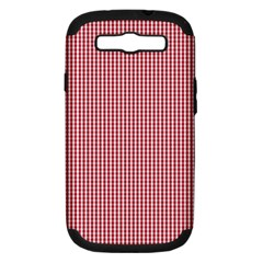 USA Flag Red and White Gingham Checked Samsung Galaxy S III Hardshell Case (PC+Silicone)