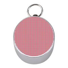 USA Flag Red and White Gingham Checked Mini Silver Compasses
