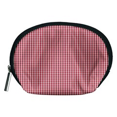 USA Flag Red and White Gingham Checked Accessory Pouches (Medium)