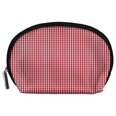 USA Flag Red and White Gingham Checked Accessory Pouches (Large)