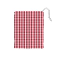 USA Flag Red and White Gingham Checked Drawstring Pouches (Medium)