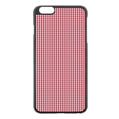 USA Flag Red and White Gingham Checked Apple iPhone 6 Plus/6S Plus Black Enamel Case