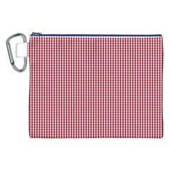 USA Flag Red and White Gingham Checked Canvas Cosmetic Bag (XXL)