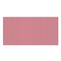 USA Flag Red and White Gingham Checked Satin Shawl