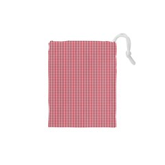 USA Flag Red and White Gingham Checked Drawstring Pouches (XS)