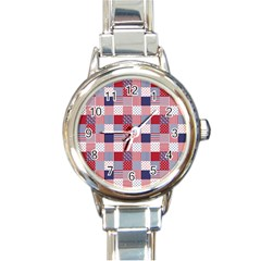 USA Americana Patchwork Red White & Blue Quilt Round Italian Charm Watch