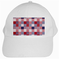 USA Americana Patchwork Red White & Blue Quilt White Cap