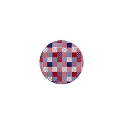 USA Americana Patchwork Red White & Blue Quilt 1  Mini Magnets