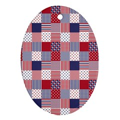 USA Americana Patchwork Red White & Blue Quilt Ornament (Oval)