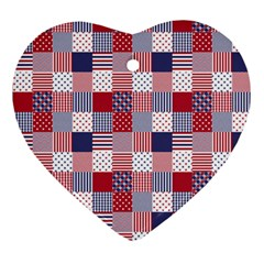 USA Americana Patchwork Red White & Blue Quilt Ornament (Heart)