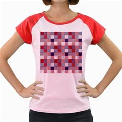 USA Americana Patchwork Red White & Blue Quilt Women s Cap Sleeve T-Shirt