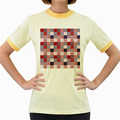 USA Americana Patchwork Red White & Blue Quilt Women s Fitted Ringer T-Shirts