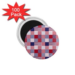 USA Americana Patchwork Red White & Blue Quilt 1.75  Magnets (100 pack)
