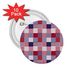 USA Americana Patchwork Red White & Blue Quilt 2.25  Buttons (10 pack)