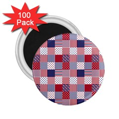 USA Americana Patchwork Red White & Blue Quilt 2.25  Magnets (100 pack)