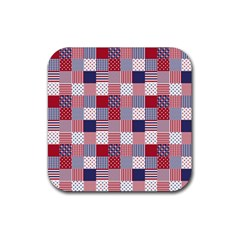 USA Americana Patchwork Red White & Blue Quilt Rubber Coaster (Square)