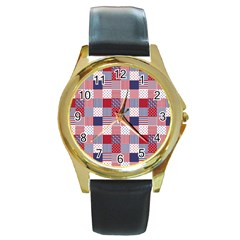 USA Americana Patchwork Red White & Blue Quilt Round Gold Metal Watch
