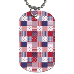 USA Americana Patchwork Red White & Blue Quilt Dog Tag (One Side)