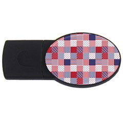 USA Americana Patchwork Red White & Blue Quilt USB Flash Drive Oval (1 GB)