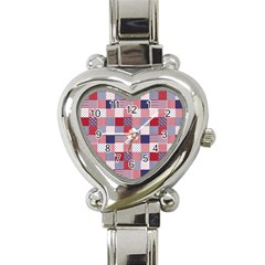 USA Americana Patchwork Red White & Blue Quilt Heart Italian Charm Watch