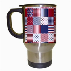USA Americana Patchwork Red White & Blue Quilt Travel Mugs (White)