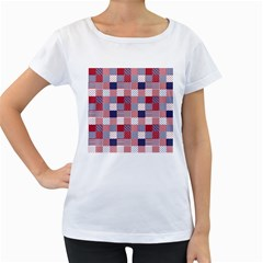 USA Americana Patchwork Red White & Blue Quilt Women s Loose-Fit T-Shirt (White)