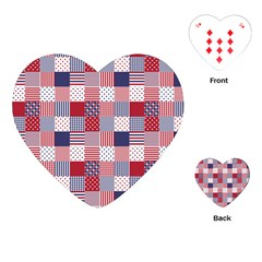 USA Americana Patchwork Red White & Blue Quilt Playing Cards (Heart)