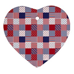 USA Americana Patchwork Red White & Blue Quilt Heart Ornament (Two Sides)