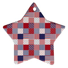 USA Americana Patchwork Red White & Blue Quilt Star Ornament (Two Sides)