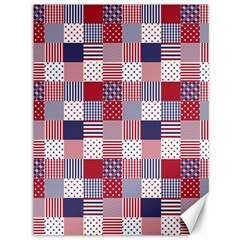 USA Americana Patchwork Red White & Blue Quilt Canvas 36  x 48