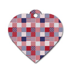 USA Americana Patchwork Red White & Blue Quilt Dog Tag Heart (One Side)