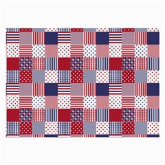 USA Americana Patchwork Red White & Blue Quilt Large Glasses Cloth (2-Side)
