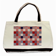 USA Americana Patchwork Red White & Blue Quilt Basic Tote Bag (Two Sides)