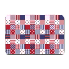 USA Americana Patchwork Red White & Blue Quilt Small Doormat