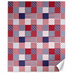 USA Americana Patchwork Red White & Blue Quilt Canvas 11  x 14