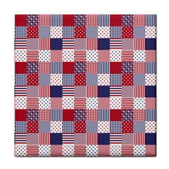USA Americana Patchwork Red White & Blue Quilt Face Towel