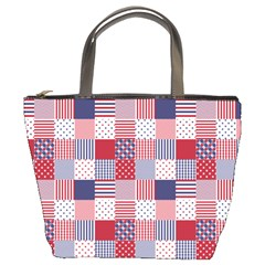 USA Americana Patchwork Red White & Blue Quilt Bucket Bags