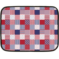 USA Americana Patchwork Red White & Blue Quilt Fleece Blanket (Mini)