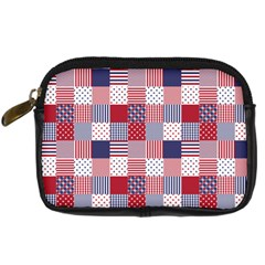 USA Americana Patchwork Red White & Blue Quilt Digital Camera Cases