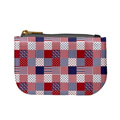USA Americana Patchwork Red White & Blue Quilt Mini Coin Purses
