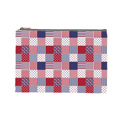USA Americana Patchwork Red White & Blue Quilt Cosmetic Bag (Large)