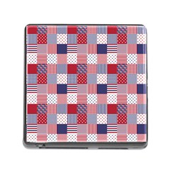 USA Americana Patchwork Red White & Blue Quilt Memory Card Reader (Square)