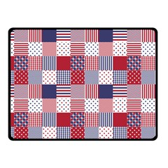 USA Americana Patchwork Red White & Blue Quilt Fleece Blanket (Small)