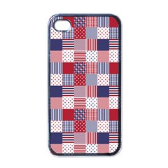 USA Americana Patchwork Red White & Blue Quilt Apple iPhone 4 Case (Black)